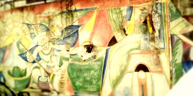 Représentation peinte sur les extérieurs du stade Mbappe Leppe à Douala, Cameroun